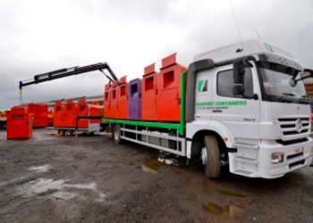 Rear Mounted Hiab Trailer loaded With Refurbished Banks