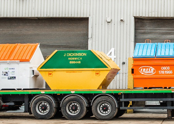 Fairport Containers Hook Loader and Trailer Loaded With Finished Bins